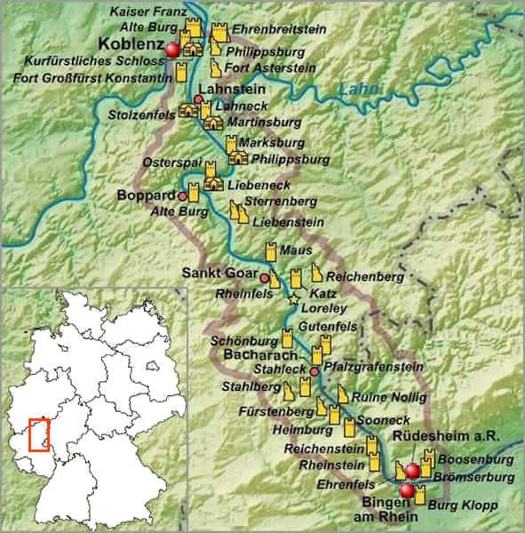 Fiumi Germania Cartina.Castelli E Fortezze Nella Valle Del Reno