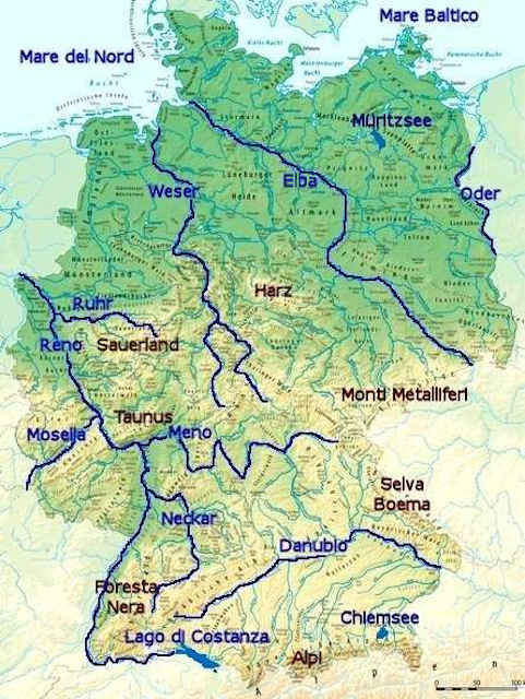 La Germania Cartina Politica.La Geografia Della Germania